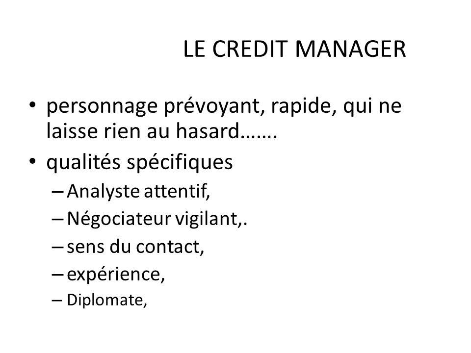 LE CREDIT MANAGER personnage prévoyant, rapide, qui ne laisse rien au hasard……. qualités spécifiques – Analyste attentif, – Négociateur vigilant,. – s