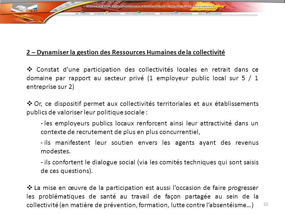 2 – Dynamiser la gestion des Ressources Humaines de la collectivité Constat dune participation des collectivités locales en retrait dans ce domaine pa