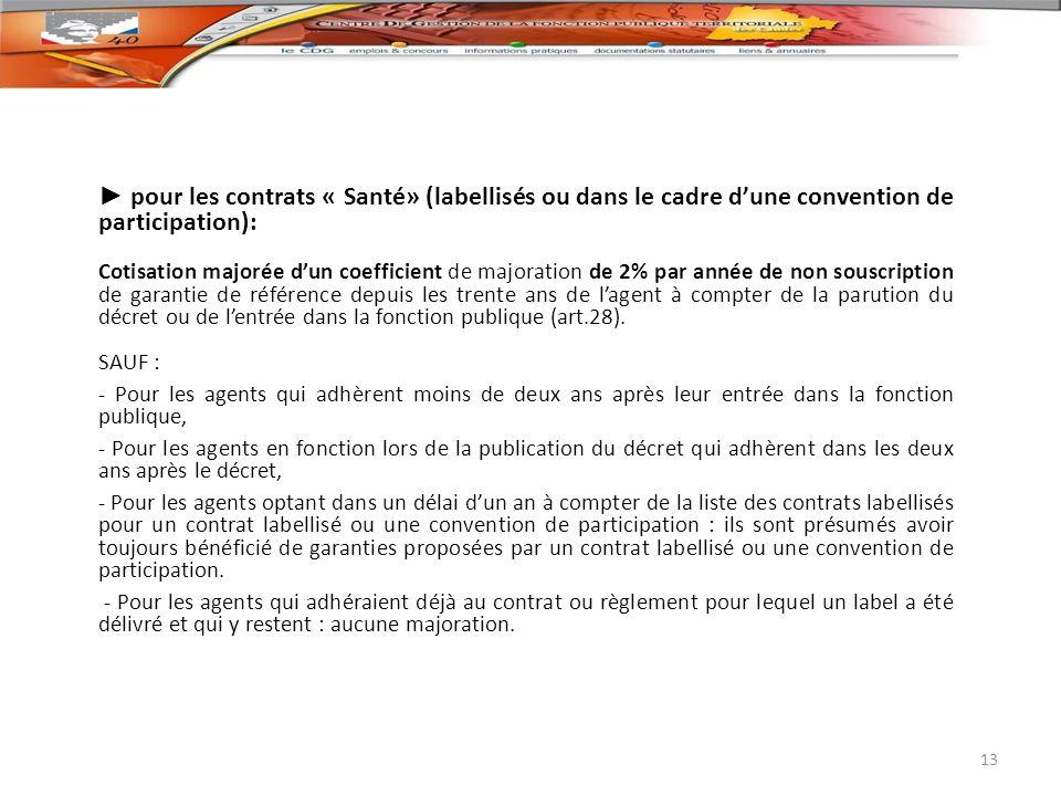pour les contrats « Santé» (labellisés ou dans le cadre dune convention de participation): Cotisation majorée dun coefficient de majoration de 2% par