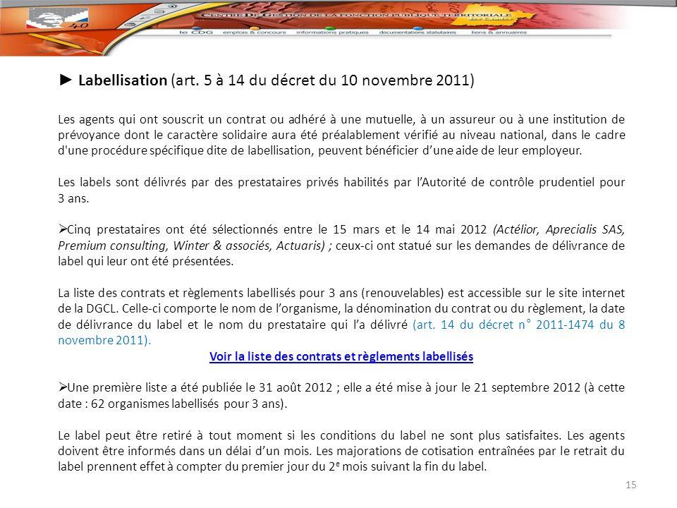 Labellisation (art. 5 à 14 du décret du 10 novembre 2011) Les agents qui ont souscrit un contrat ou adhéré à une mutuelle, à un assureur ou à une inst