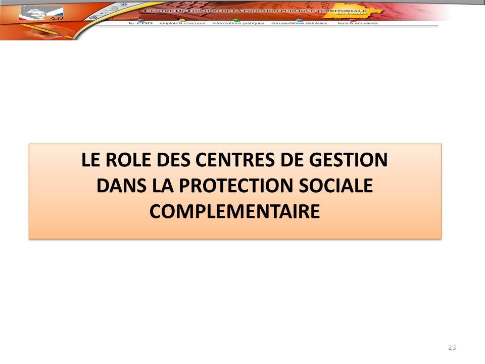 LE ROLE DES CENTRES DE GESTION DANS LA PROTECTION SOCIALE COMPLEMENTAIRE LE ROLE DES CENTRES DE GESTION DANS LA PROTECTION SOCIALE COMPLEMENTAIRE 23