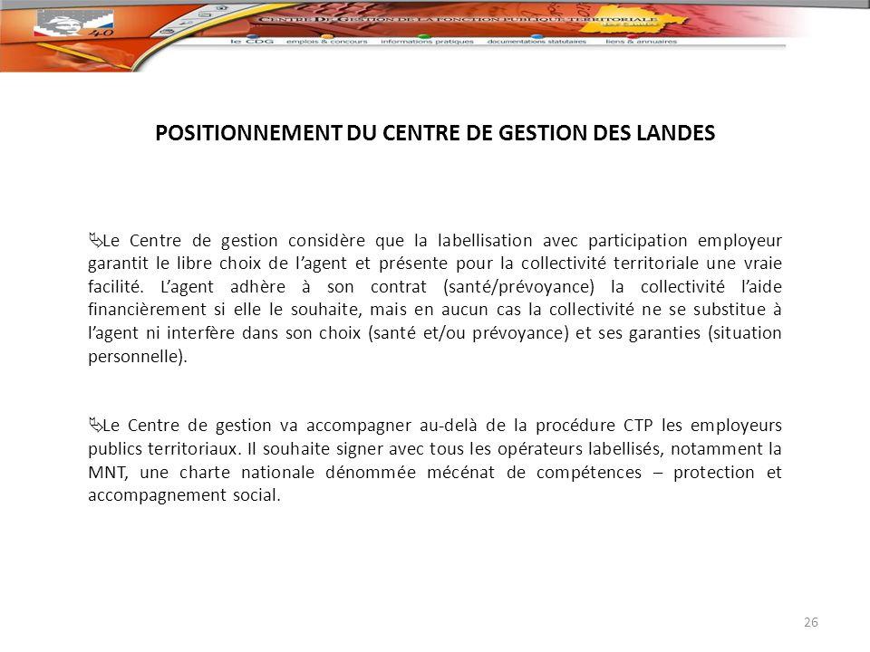 POSITIONNEMENT DU CENTRE DE GESTION DES LANDES Le Centre de gestion considère que la labellisation avec participation employeur garantit le libre choi