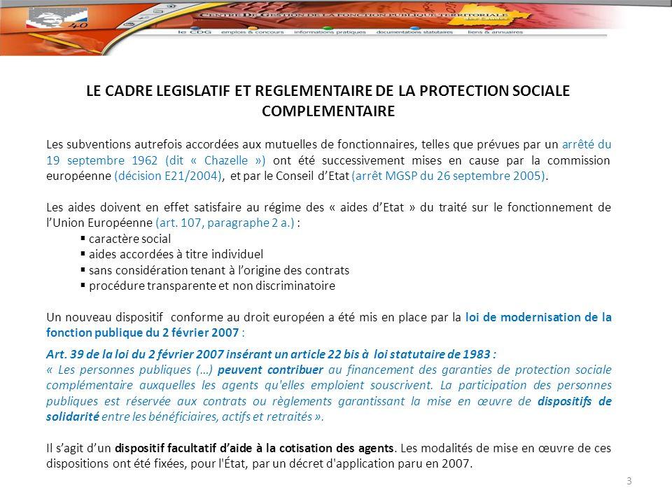 LES MODALITES DE SELECTION DES GARANTIES POUVANT DONNER LIEU A PARTICIPATION : Les collectivités ne peuvent apporter leur participation quau titre des seuls contrats et règlements satisfaisant aux principes de solidarité décrits au titre IV du décret du 10 novembre 2011 (art.