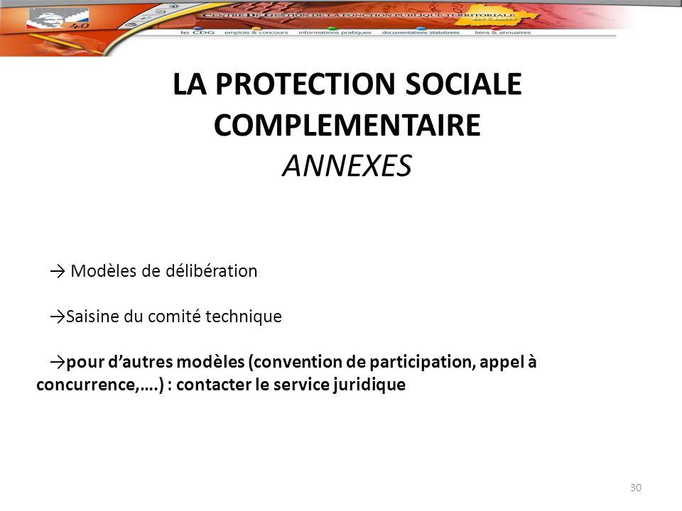 LA PROTECTION SOCIALE COMPLEMENTAIRE ANNEXES 30 Modèles de délibération Saisine du comité technique pour dautres modèles (convention de participation,