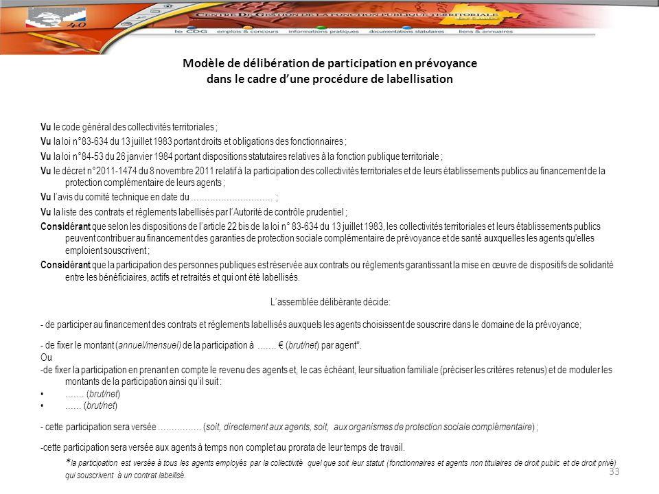 Modèle de délibération de participation en prévoyance dans le cadre dune procédure de labellisation Vu le code général des collectivités territoriales