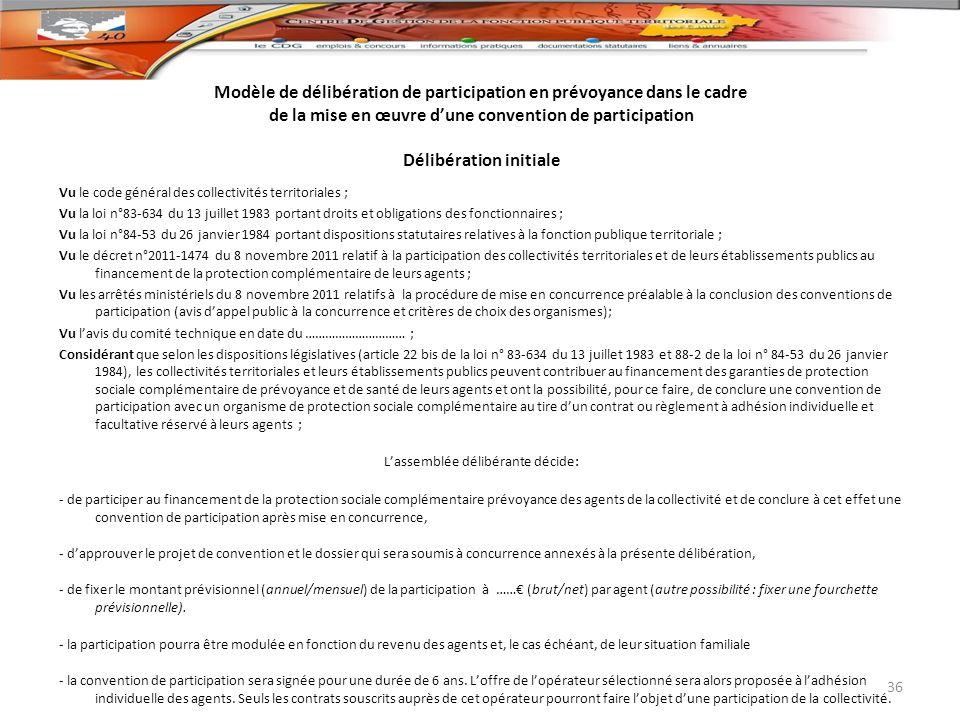 Modèle de délibération de participation en prévoyance dans le cadre de la mise en œuvre dune convention de participation Délibération initiale Vu le c