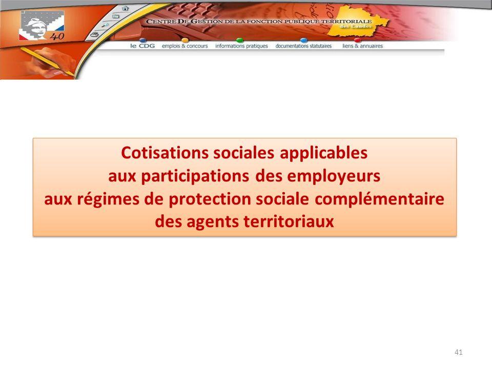 Cotisations sociales applicables aux participations des employeurs aux régimes de protection sociale complémentaire des agents territoriaux Cotisation
