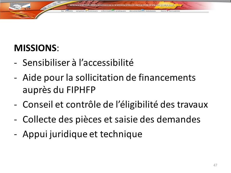 MISSIONS: -Sensibiliser à laccessibilité -Aide pour la sollicitation de financements auprès du FIPHFP -Conseil et contrôle de léligibilité des travaux