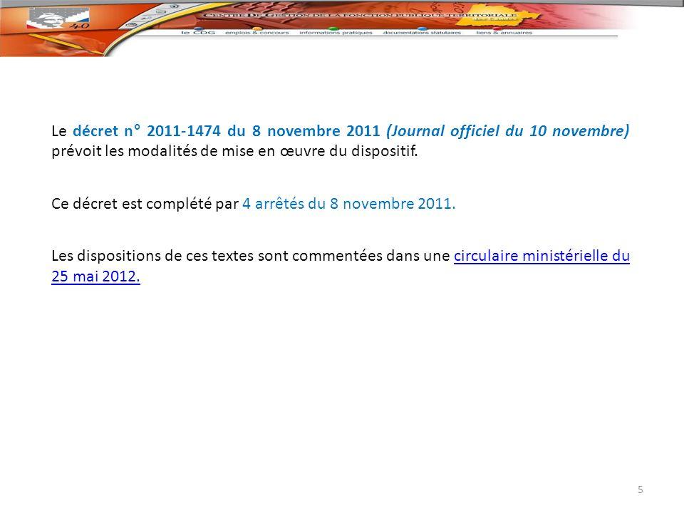 Le décret n° 2011-1474 du 8 novembre 2011 (Journal officiel du 10 novembre) prévoit les modalités de mise en œuvre du dispositif. Ce décret est complé