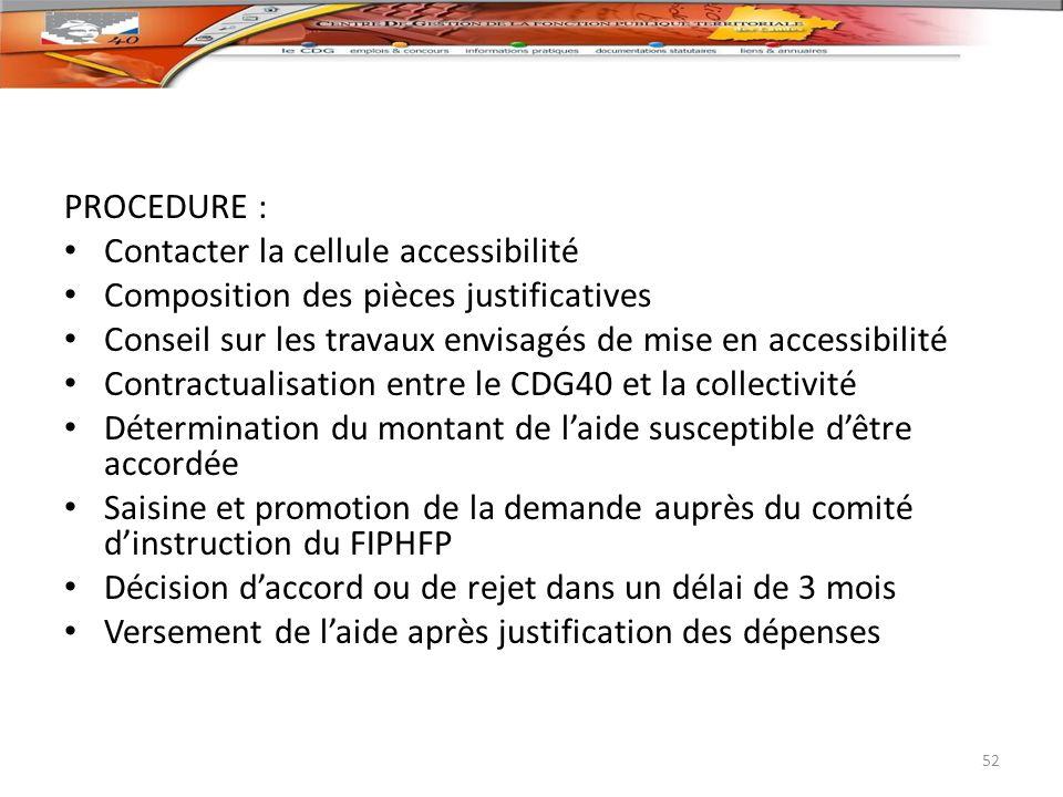 PROCEDURE : Contacter la cellule accessibilité Composition des pièces justificatives Conseil sur les travaux envisagés de mise en accessibilité Contra