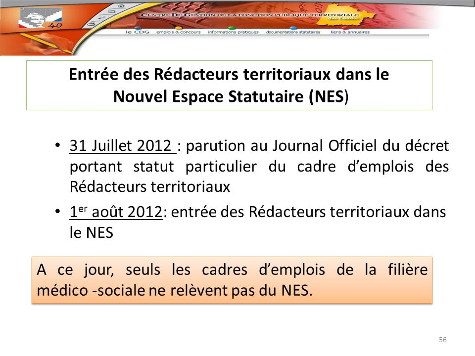 31 Juillet 2012 : parution au Journal Officiel du décret portant statut particulier du cadre demplois des Rédacteurs territoriaux 1 er août 2012: entr