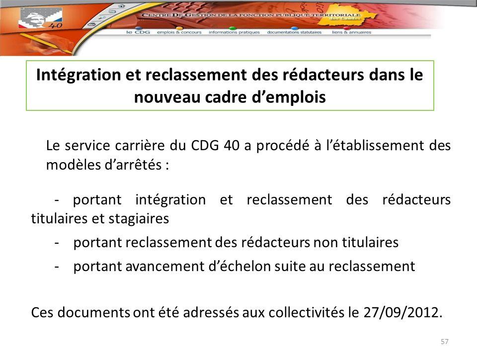 Le service carrière du CDG 40 a procédé à létablissement des modèles darrêtés : - portant intégration et reclassement des rédacteurs titulaires et sta