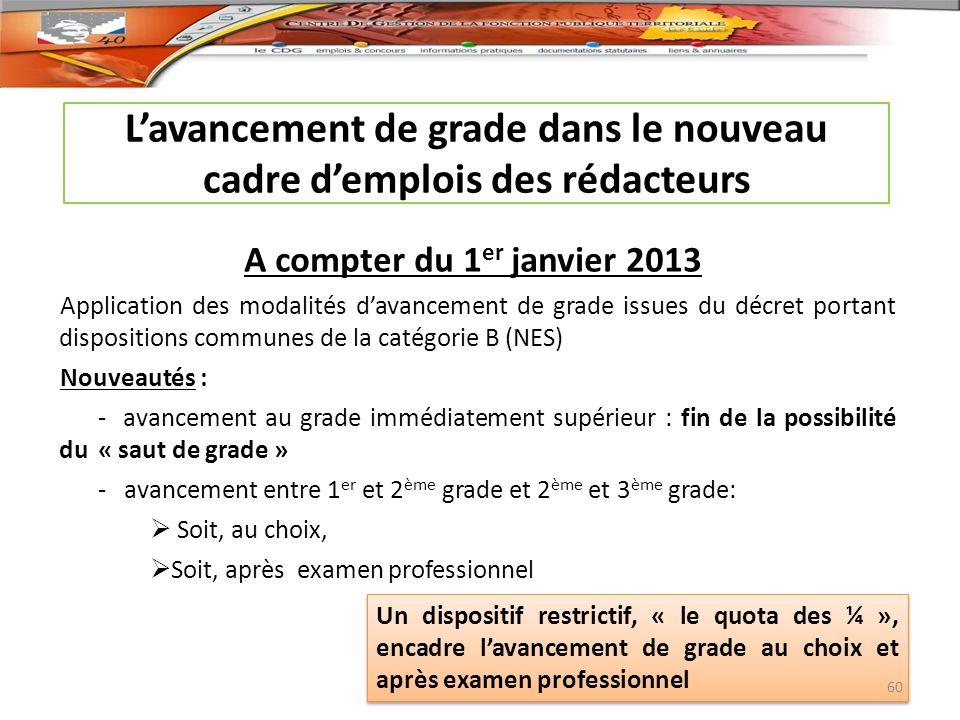 Lavancement de grade dans le nouveau cadre demplois des rédacteurs A compter du 1 er janvier 2013 Application des modalités davancement de grade issue