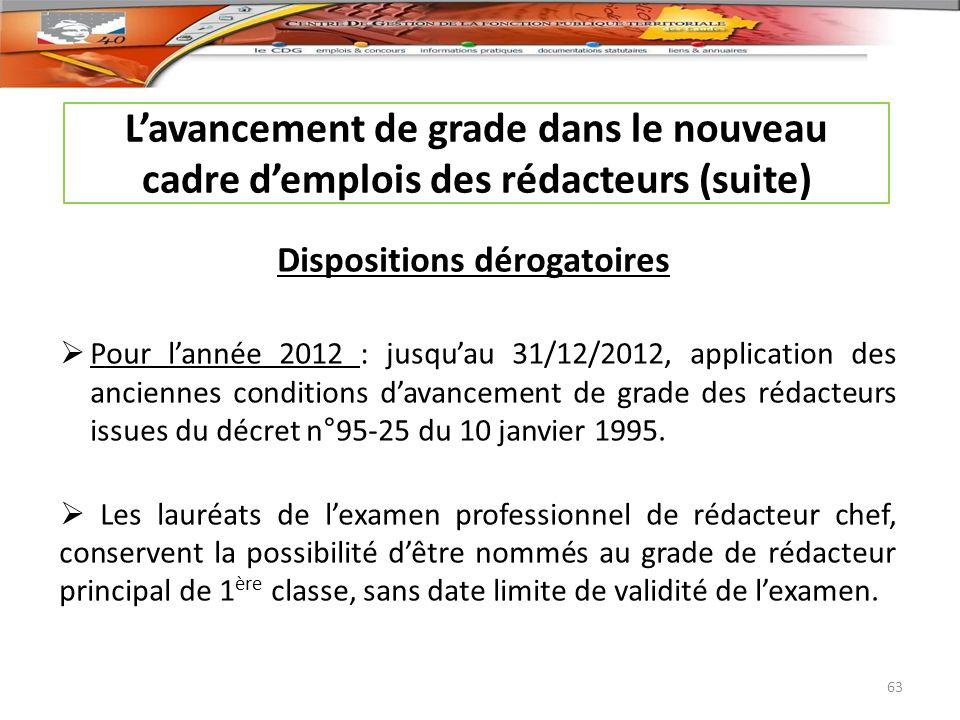 Lavancement de grade dans le nouveau cadre demplois des rédacteurs (suite) Dispositions dérogatoires Pour lannée 2012 : jusquau 31/12/2012, applicatio