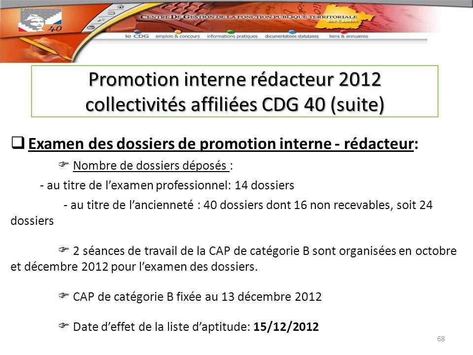 Examen des dossiers de promotion interne - rédacteur: Nombre de dossiers déposés : - au titre de lexamen professionnel: 14 dossiers - au titre de lanc