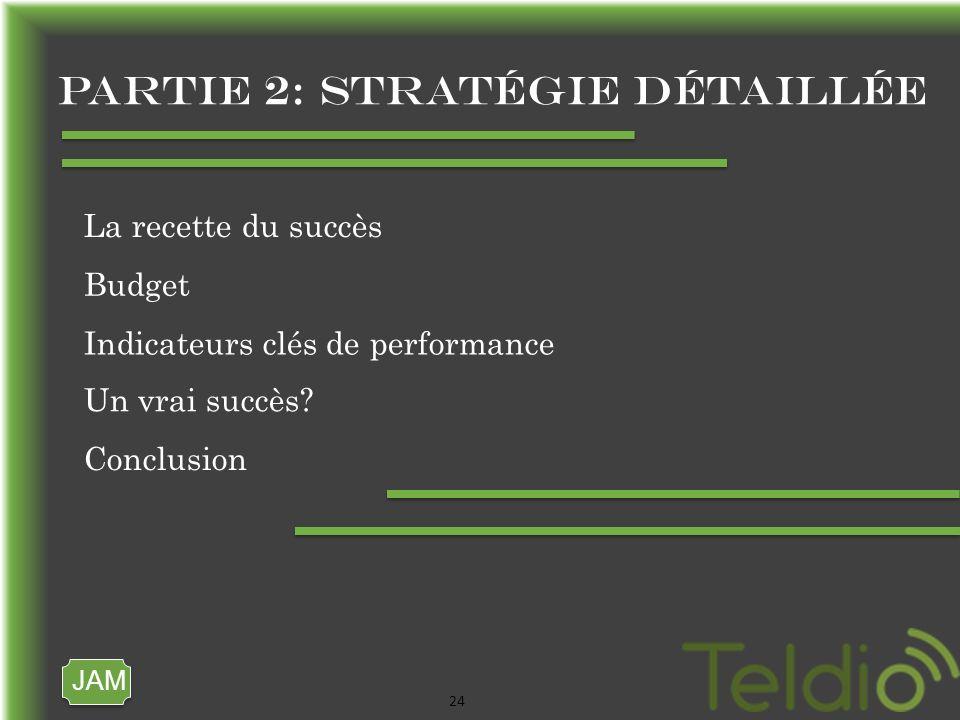 JAM 24 Partie 2: stratégie détaillée La recette du succès Budget Indicateurs clés de performance Un vrai succès.
