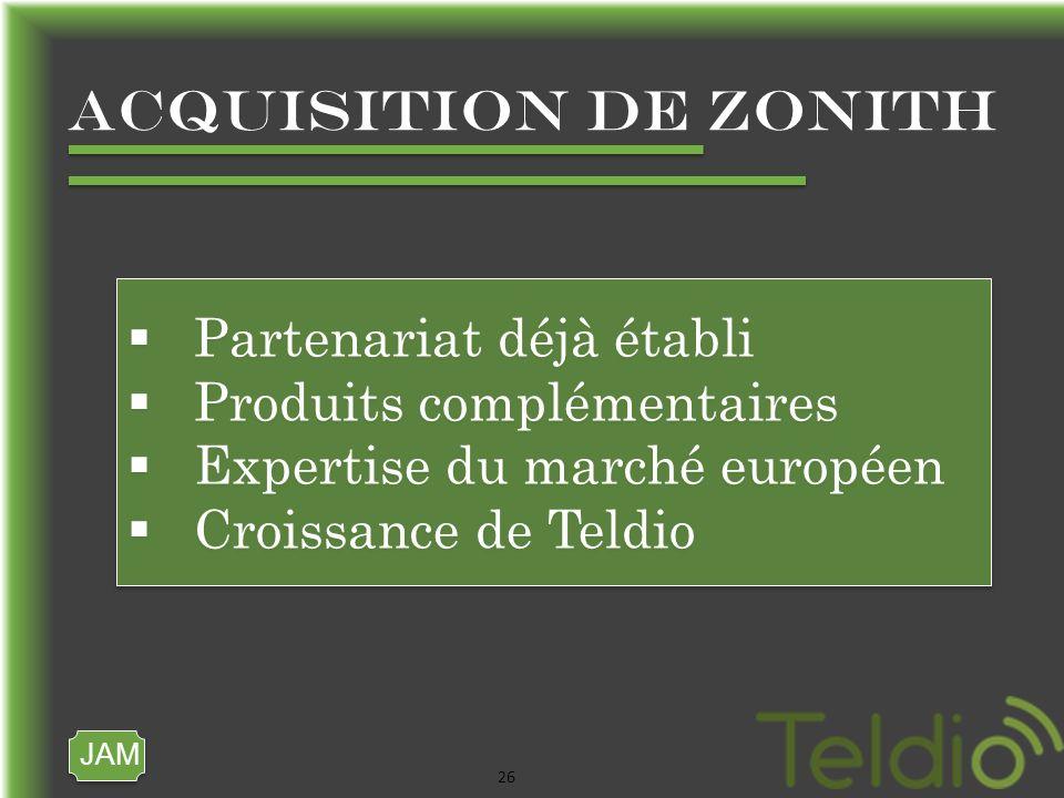 JAM 26 ACQUISITION DE ZONITH Partenariat déjà établi Produits complémentaires Expertise du marché européen Croissance de Teldio Partenariat déjà établi Produits complémentaires Expertise du marché européen Croissance de Teldio