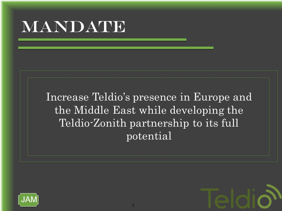 JAM 3 MANDATE Increase Teldios presence in Europe and the Middle East while developing the Teldio-Zonith partnership to its full potential