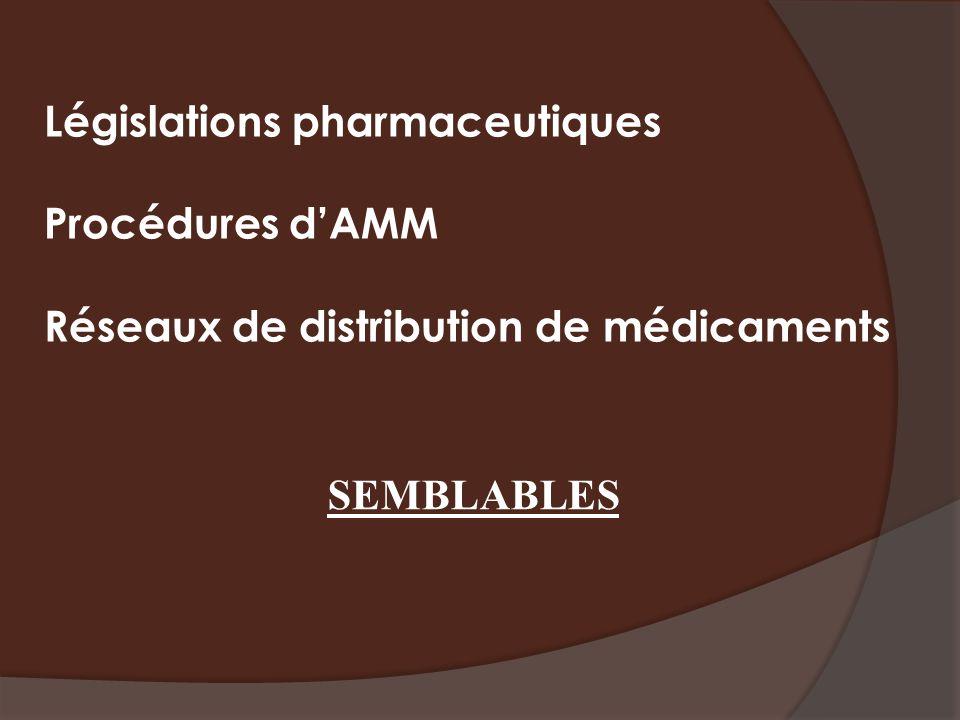 Législations pharmaceutiques Procédures dAMM Réseaux de distribution de médicaments SEMBLABLES