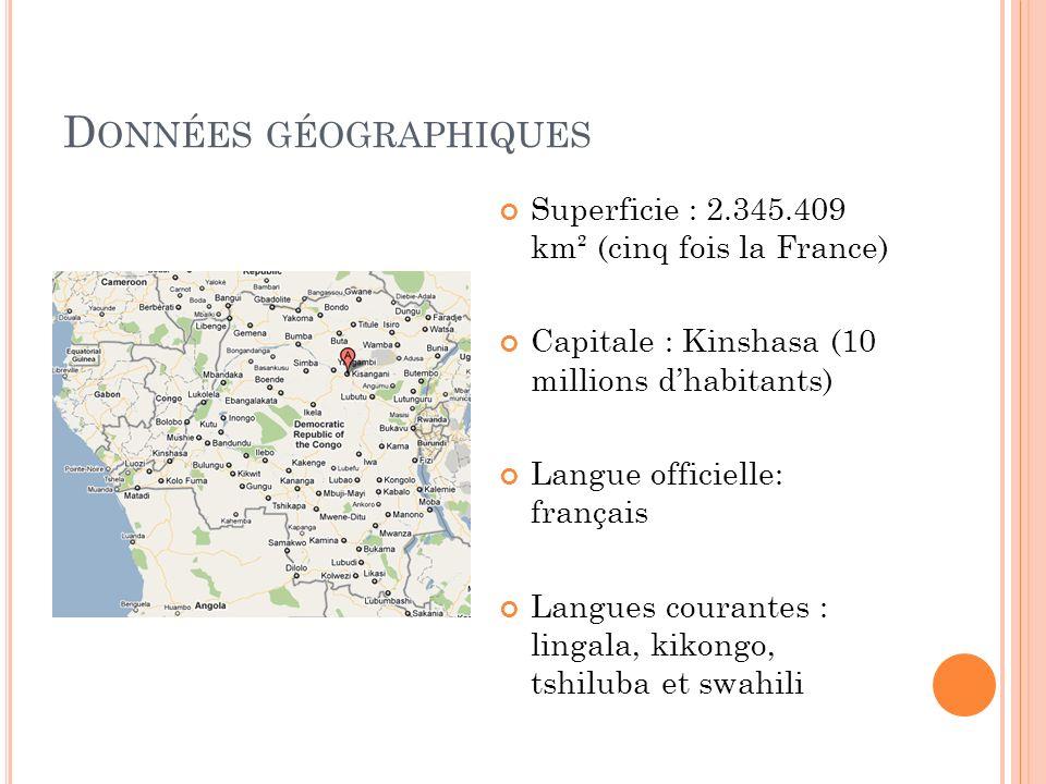 D ONNÉES D ÉMOGRAPHIQUES Population : 64,2 millions Densité : 27 hab / km² (France : 94 hab./km²) Croissance démographique : +3% Espérance de vie : 46 ans Réligion(s) : chrétiens (majoritaires), musulmans, kimbanguistes Indice de développement humain : 168ème sur 177 (PNUD, 2007)