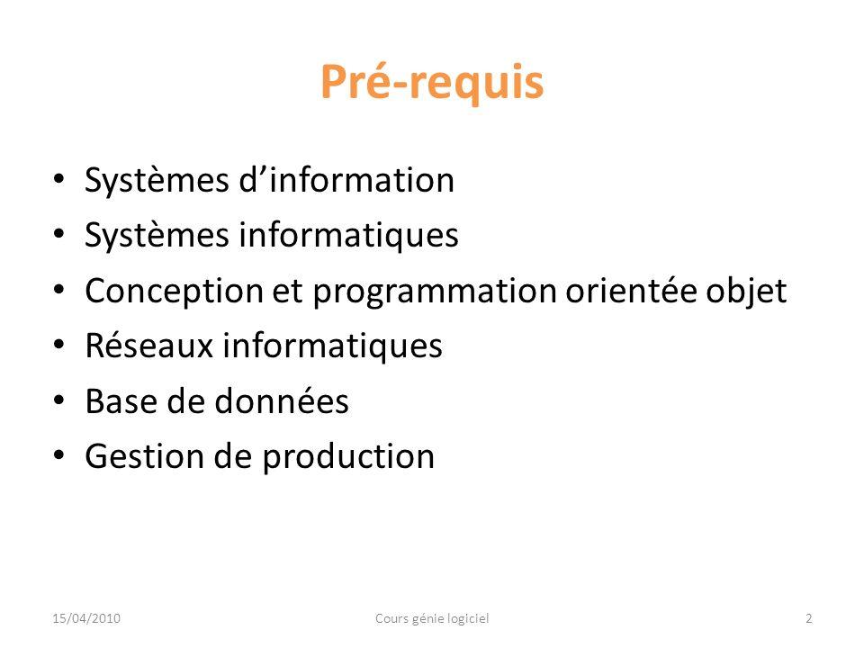 Objectifs du cours Etre capable de définir les principes et les techniques du génie logiciel Comprendre la valeur ajoutée de génie logiciel 3Cours génie logiciel15/04/2010