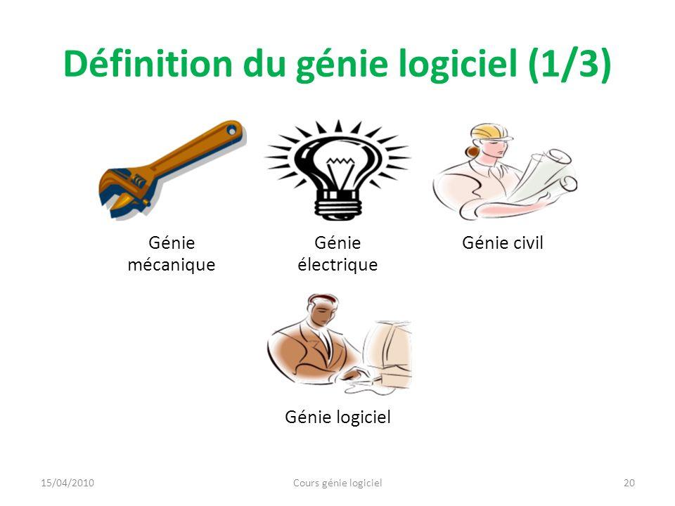 Définition du génie logiciel (1/3) Génie mécanique Génie électrique Génie civil Génie logiciel 20Cours génie logiciel15/04/2010