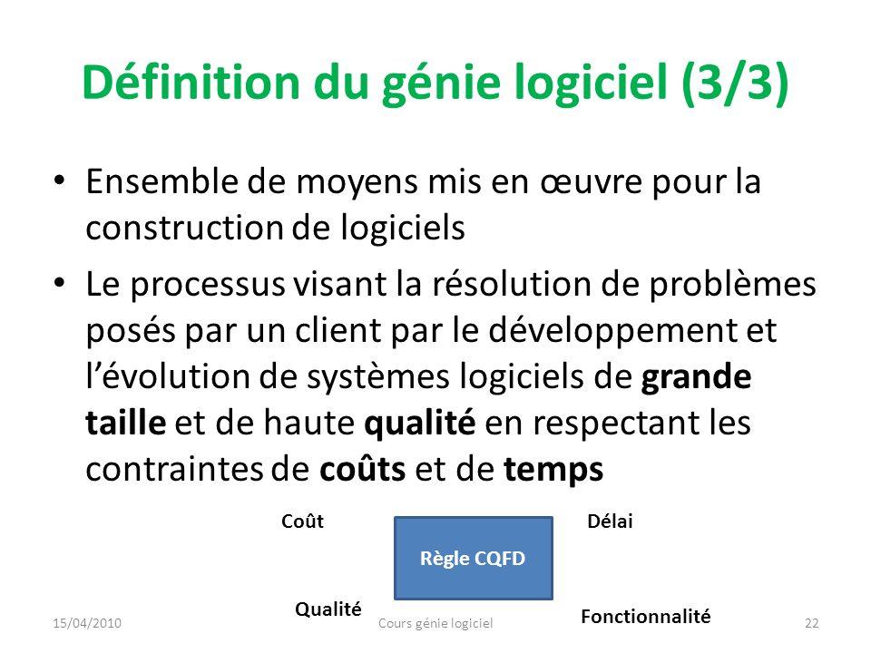 Principes du génie logiciel Rigueur Séparation de problèmes en sous problèmes Modularité Généricité Construction incrémentale Application du changement 23Cours génie logiciel15/04/2010