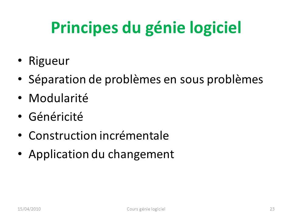 Principes du génie logiciel Rigueur Séparation de problèmes en sous problèmes Modularité Généricité Construction incrémentale Application du changemen