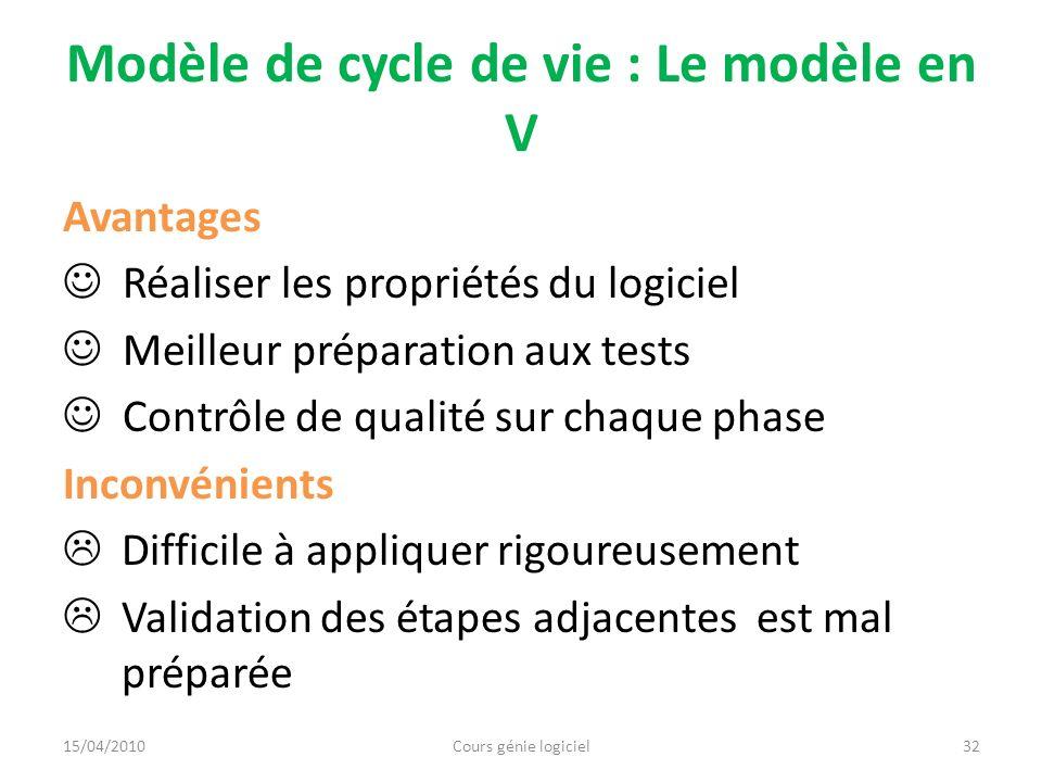 Modèle de cycle de vie : Le modèle incrémental 33 Etude de faisabilité Conception architecturale Conception détaillée Codage et intégration Implémentation Itération Livraison du version i du logiciel Cours génie logiciel15/04/2010