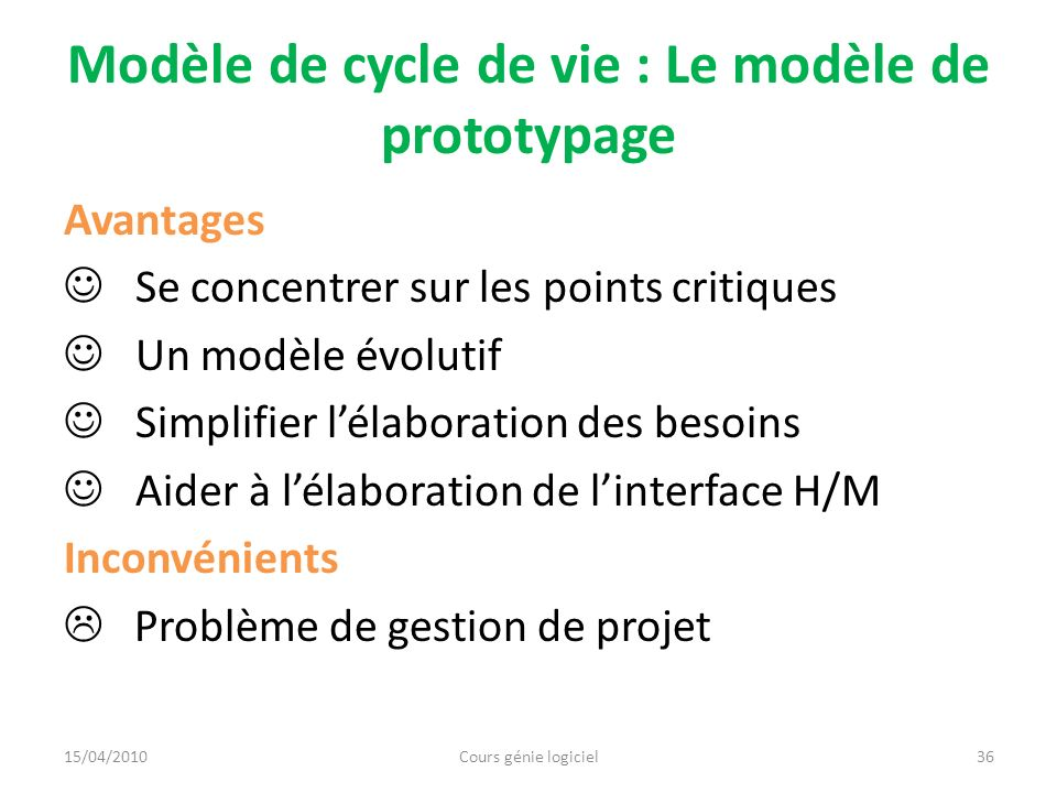 Modèle de cycle de vie : Le modèle de prototypage Avantages Se concentrer sur les points critiques Un modèle évolutif Simplifier lélaboration des beso