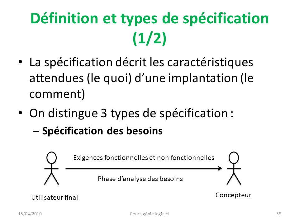 Définition et types de spécification (1/2) La spécification décrit les caractéristiques attendues (le quoi) dune implantation (le comment) On distingu