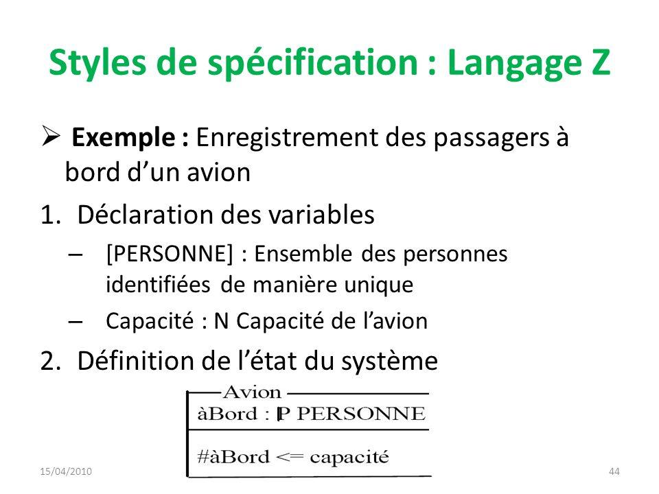 Styles de spécification : Langage Z Exemple : Enregistrement des passagers à bord dun avion 1.Déclaration des variables – [PERSONNE] : Ensemble des pe