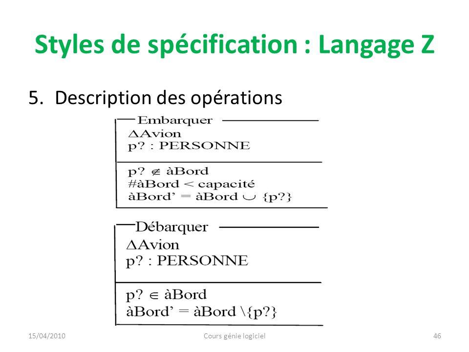 Chapitre 5 : Techniques de conception Section 1 : Définition et approches Section 2 : Approche fonctionnelle Section 3 : Approche à objet Section 4 : Exercice 15/04/2010Cours génie logiciel47