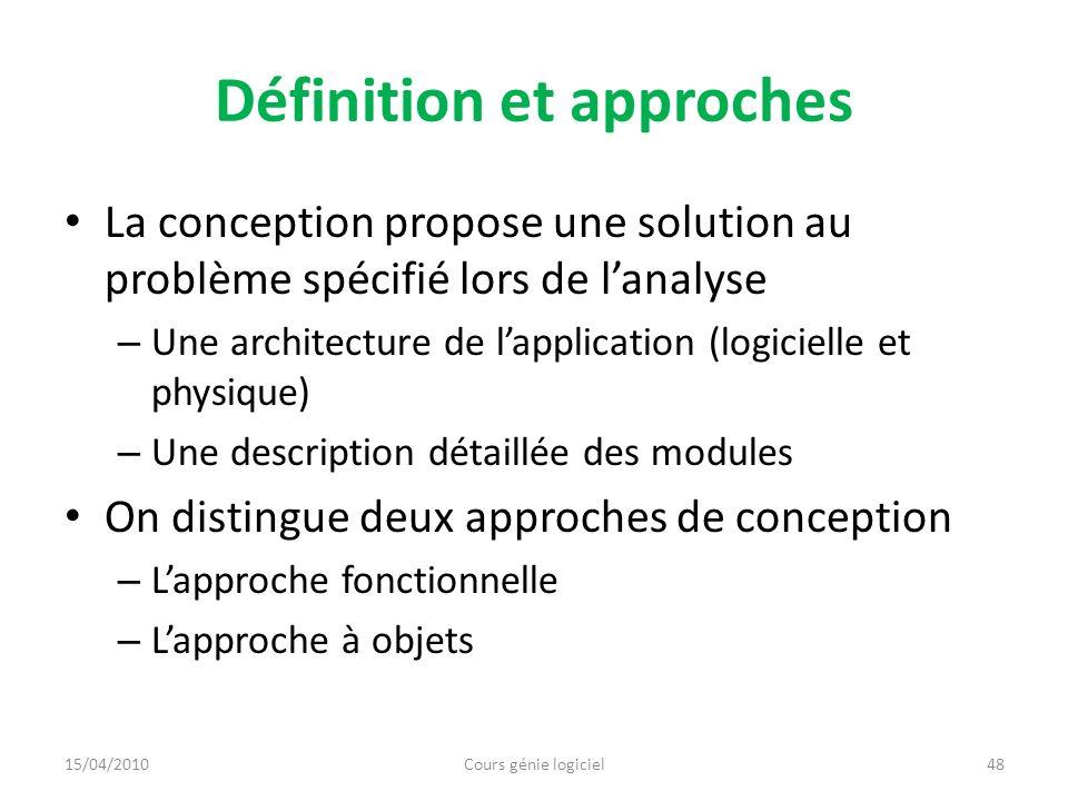 Définition et approches La conception propose une solution au problème spécifié lors de lanalyse – Une architecture de lapplication (logicielle et phy