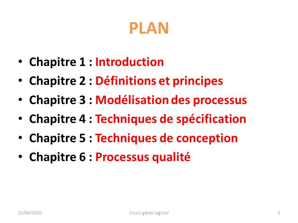 Chapitre 1 : Introduction Section 1 : Rappels Section 2 : Définition dun logiciel Section 3 : Domaines dapplication du logiciel Section 4 : Crise du logiciel Section 5 : Solution 15/04/2010Cours génie logiciel6