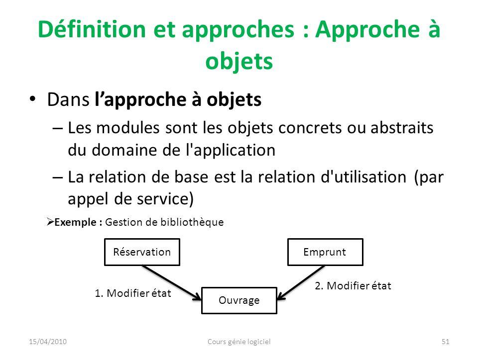 Définition et approches : Approche à objets Dans lapproche à objets – Les modules sont les objets concrets ou abstraits du domaine de l'application –