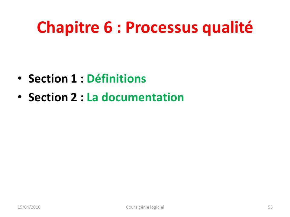 Chapitre 6 : Processus qualité Section 1 : Définitions Section 2 : La documentation 15/04/2010Cours génie logiciel55