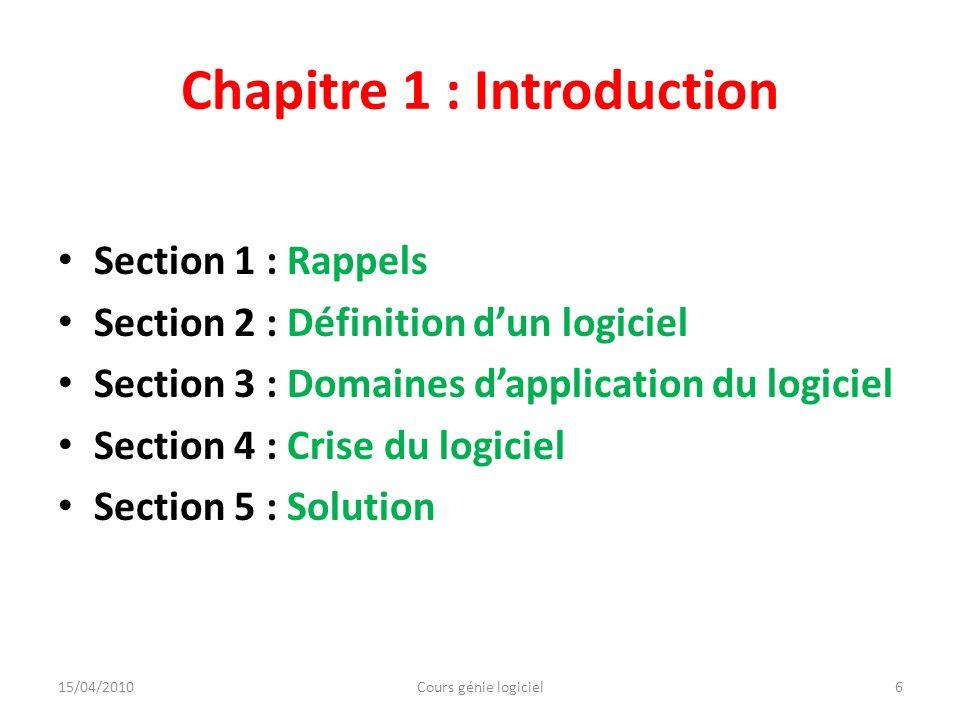 Chapitre 1 : Introduction Section 1 : Rappels Section 2 : Définition dun logiciel Section 3 : Domaines dapplication du logiciel Section 4 : Crise du l