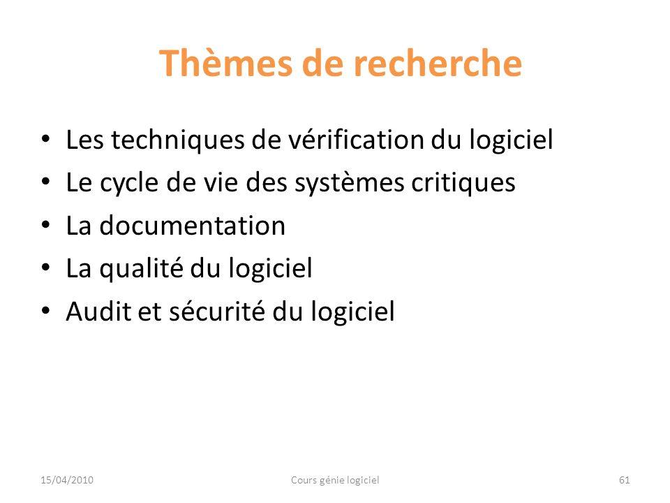 Thèmes de recherche Les techniques de vérification du logiciel Le cycle de vie des systèmes critiques La documentation La qualité du logiciel Audit et