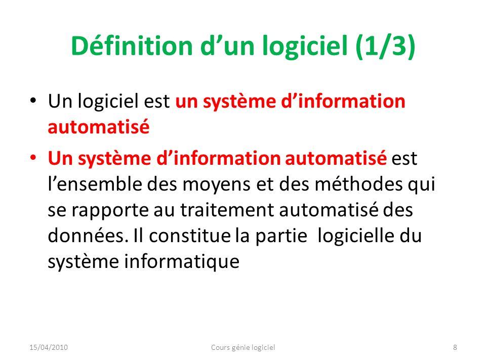 Définition dun logiciel (1/3) Un logiciel est un système dinformation automatisé Un système dinformation automatisé est lensemble des moyens et des mé
