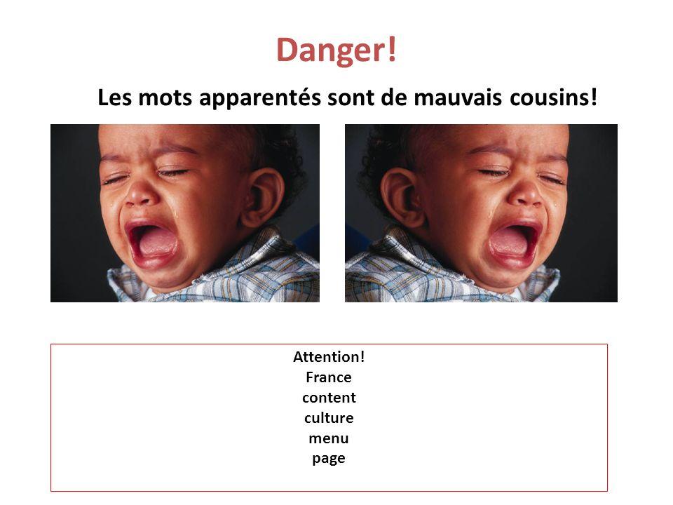 Danger! Les mots apparentés sont de mauvais cousins! Attention! France content culture menu page