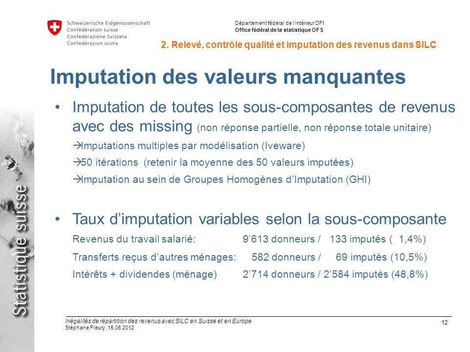 12 Inégalités de répartition des revenus avec SILC en Suisse et en Europe Stéphane Fleury, 15.06.2012 Département fédéral de lintérieur DFI Office fédéral de la statistique OFS 2.
