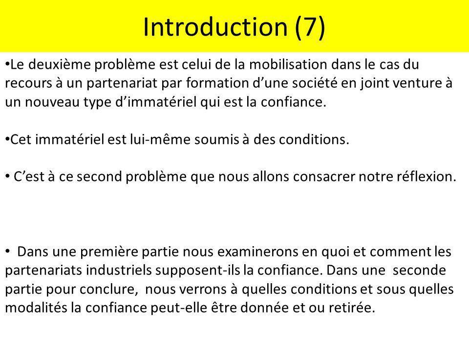 Introduction (7) Le deuxième problème est celui de la mobilisation dans le cas du recours à un partenariat par formation dune société en joint venture
