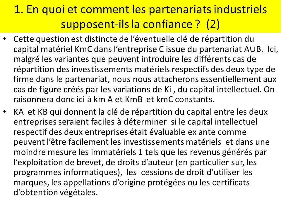 1. En quoi et comment les partenariats industriels supposent-ils la confiance ? (2) Cette question est distincte de léventuelle clé de répartition du