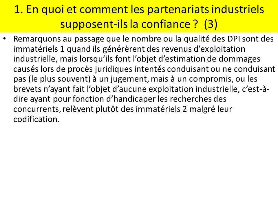 1. En quoi et comment les partenariats industriels supposent-ils la confiance ? (3) Remarquons au passage que le nombre ou la qualité des DPI sont des