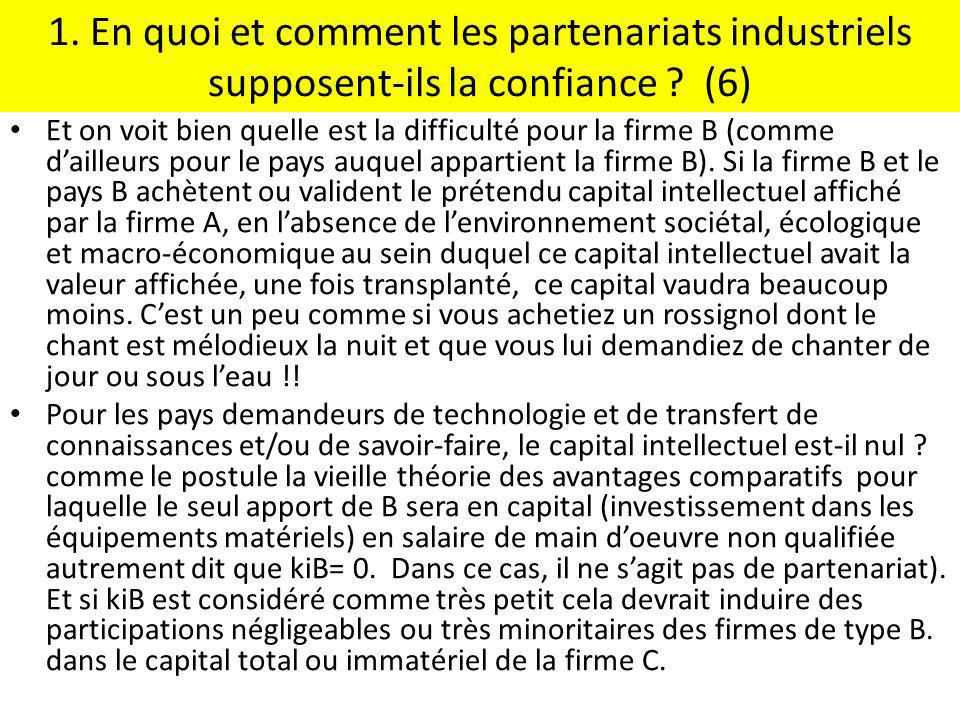 1. En quoi et comment les partenariats industriels supposent-ils la confiance ? (6) Et on voit bien quelle est la difficulté pour la firme B (comme da