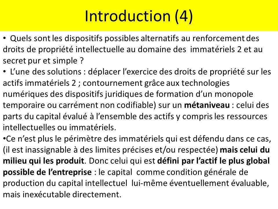Introduction (4) Quels sont les dispositifs possibles alternatifs au renforcement des droits de propriété intellectuelle au domaine des immatériels 2
