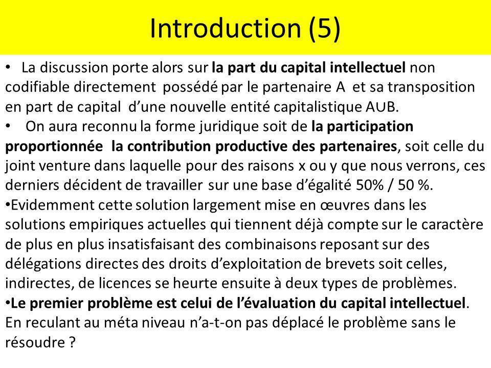 Introduction (5) La discussion porte alors sur la part du capital intellectuel non codifiable directement possédé par le partenaire A et sa transposit