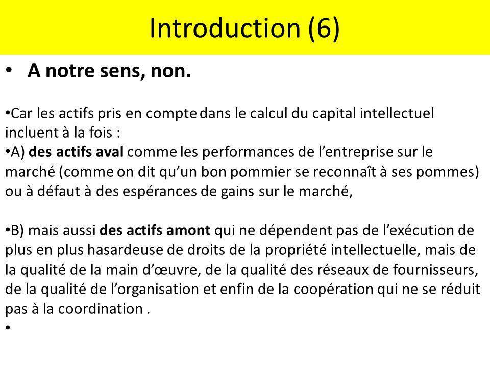 Introduction (6) A notre sens, non. Car les actifs pris en compte dans le calcul du capital intellectuel incluent à la fois : A) des actifs aval comme