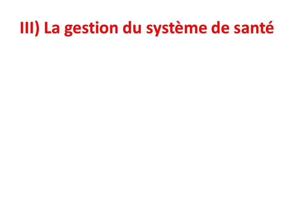 III) La gestion du système de santé